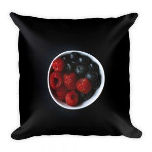 sierkussen rood fruit zwart