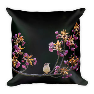 sierkussen dieren vogel bloemen zwart paars