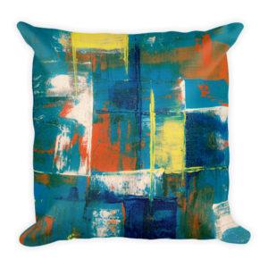 sierkussen abstract verf blauw