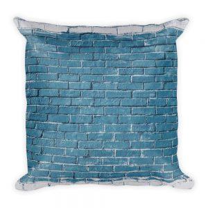 sierkussen vierkant blauw bakstenen