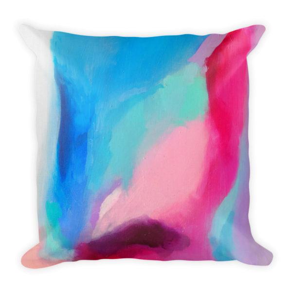 sierkussen abstract verf roze blauw