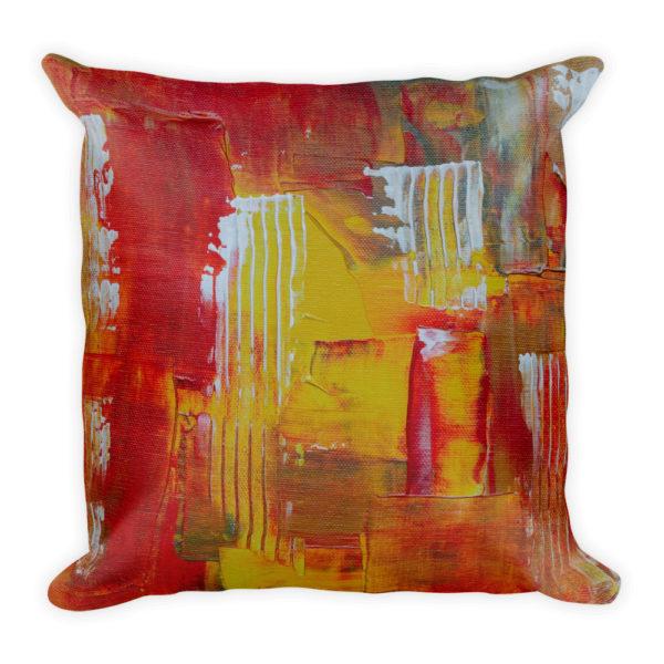 sierkussen abstract rood geel oranje
