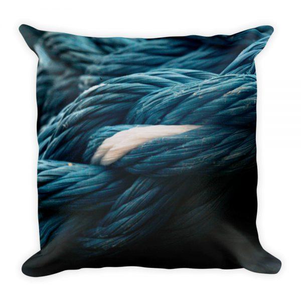 sierkussen vierkant blauw touw