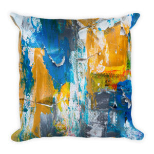sierkussen abstract wit geel blauw