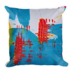 sierkussen abstract kleuren verf blauw rood wit